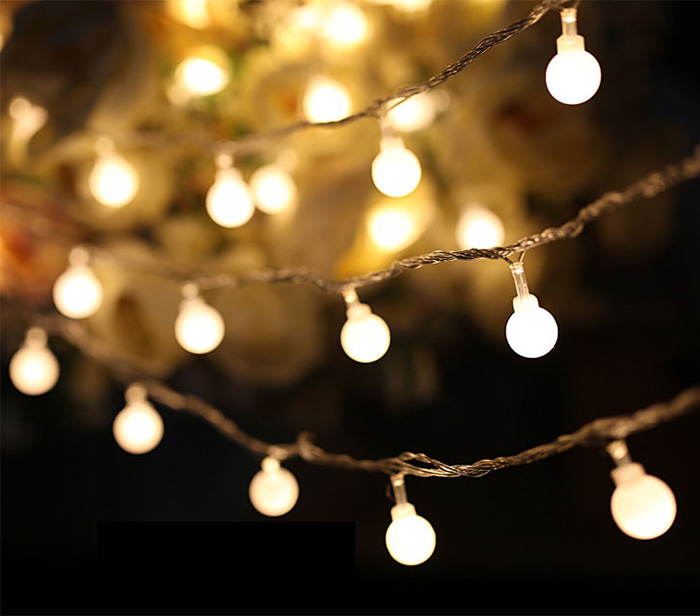 Unique String Lights Outdoor : Luminaria 50 Led Cherry Balls Twinkle String Decorative Lights AA Battery Operated Wedding ...