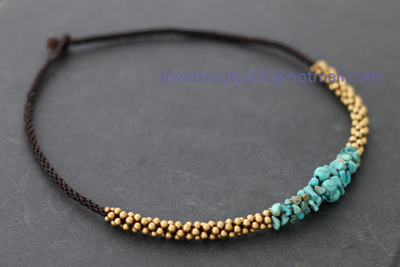 Women/Men Retro Fashion Necklace Turquoise Macadam Stone Necklace With Thai Style Brass Bead And Bell, Wax Cord Necklaces(China (Mainland))