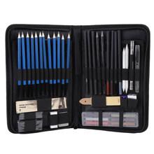 48 ชิ้น/ล็อต Sketch ดินสอชุด Professional Sketching Drawing ชุดดินสอไม้ดินสอกระเป๋าสำหรับจิตรกรนัก(China)