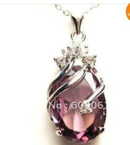Free Shipping  Lovely silver plated purple Amethyst Pendant Necklace