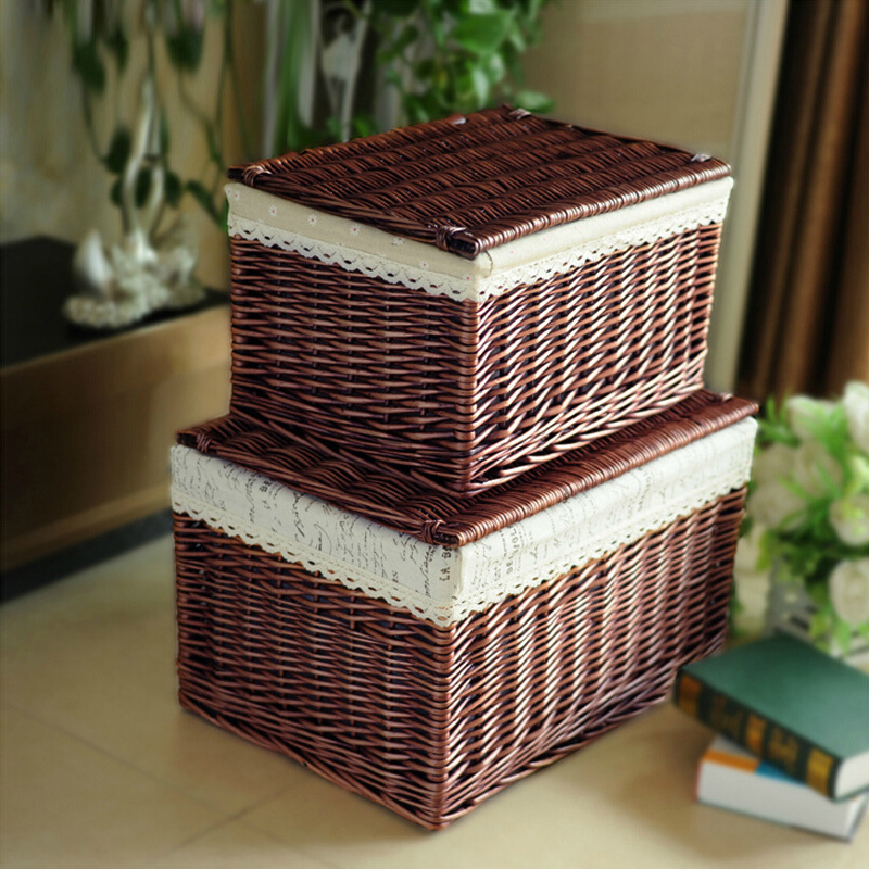 Handmade Fabric Storage Baskets : Natural eco friendly handmade woven wicker storage basket