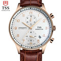 TSS Gold shell coffee surface Relojes Hombre 2016 Mens Watches Top Brand Luxury waterproof Quartz Watch