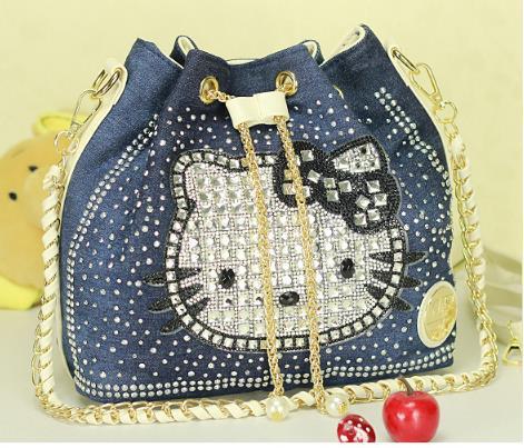 30% Big discount hello kitty diamond Women bag women messenger bags shoulder bag Bolsas Femininas Luxury handbag Tote(China (Mainland))