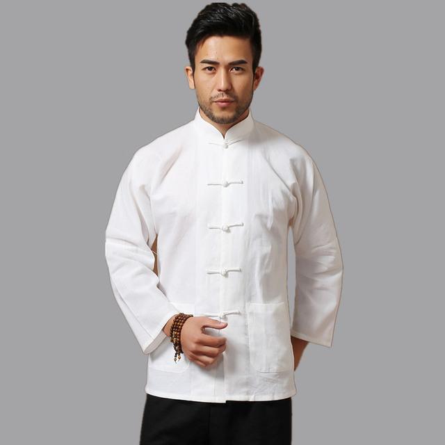 Белые люди хлопок белье с длинным рукавом кунг-фу рубашка классический китайский ...