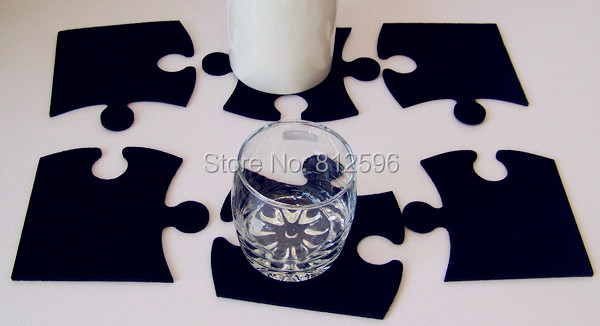 Free Shipping 12pcs 2015 New Fashion Laser Crafts Black Felt Puzzle Glass Cup Drink Coaster Home Bar Decor Kitchen Accessories(China (Mainland))