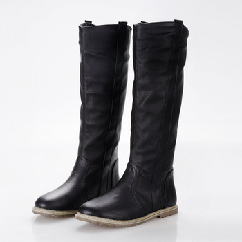 size 34-43 2016 New fashion women boots flat boots knee boots women black white brown color