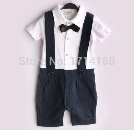 2014 Navy Blue Baby boy Tuxedo Rompers Gentleman body suit Babywear Bowties Retail Baby Clothes COTTON HJ(China (Mainland))