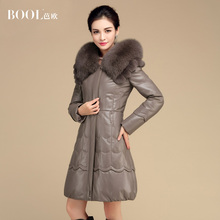 2016 Winter Women's Genuine Real Sheep Leather Suede Down Coats Fox Fur Hooded Lady X-Long Outerwear VF0087(China (Mainland))