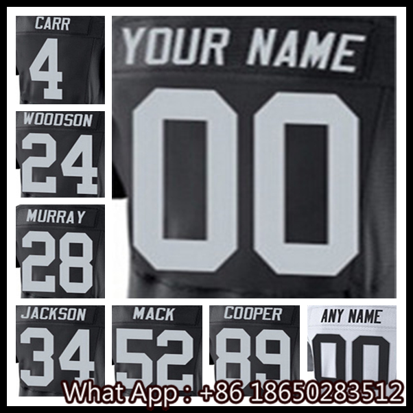 100% Stitched With Customized #4 Derek #24 Charles #28 Latavius #34 Bo #52 Khalil #89 Amari Men's Black White Jersey(China (Mainland))
