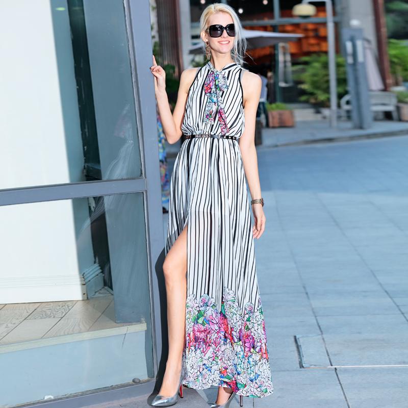 Brand Runway Dress New 2016 Summer Fashion Women Sleeveless Vertical Striped Belt Floral Print DressОдежда и ак�е��уары<br><br><br>Aliexpress