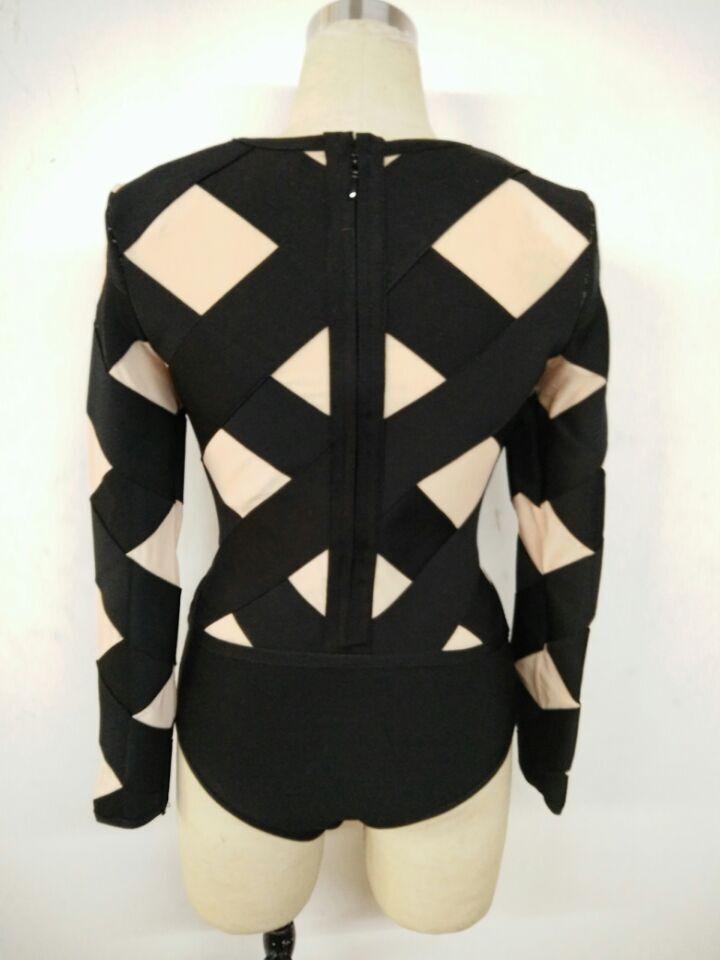 2016-new-black-and-beige-mesh-long-sleeve-O-neck-women-bandage-jumpsuit-Playsuit (2)