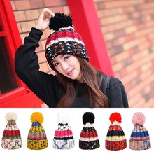 Promotion Winter Women Girl Warm Crochet Knit Wool Ball Cap Beanie Ski Baggy Xmas Hat Autumn Fashion Skull  Soft Ladies Beanies(China (Mainland))