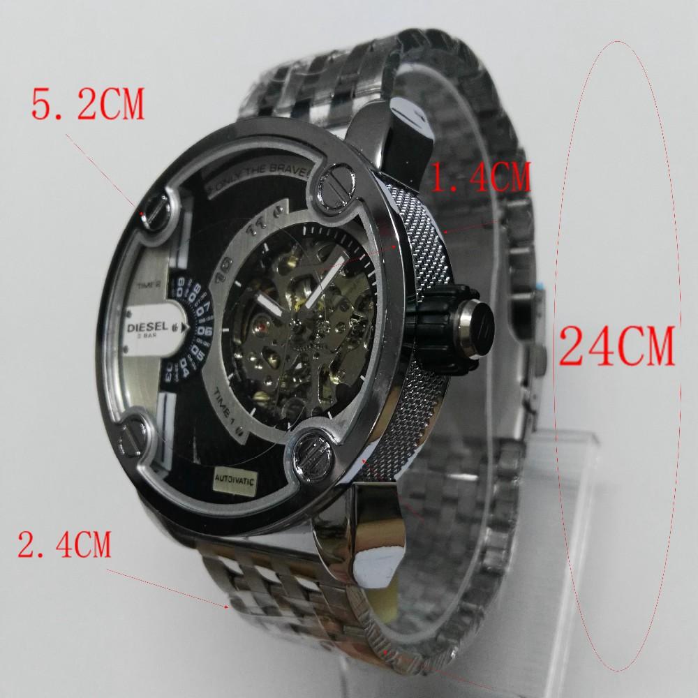 2016 мода новый двойной дисплей Мужской механические часы Большой Циферблат Из Нержавеющей стали розовое золото мужские кварцевые часы