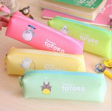 2015 New Candy Color Pencil Bags TOTORO School Kids Pen Pencil Case For Girl's Purse BAG & Wallet Pouch Free Shipping