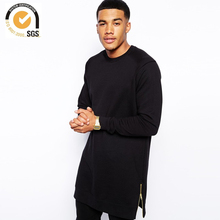 Mens Big and Tall Sweatshirts Men Longline Sweatshirt Crewneck Sweatshirt Side Zipper Sweatshirt Sport Free Shipping(China (Mainland))