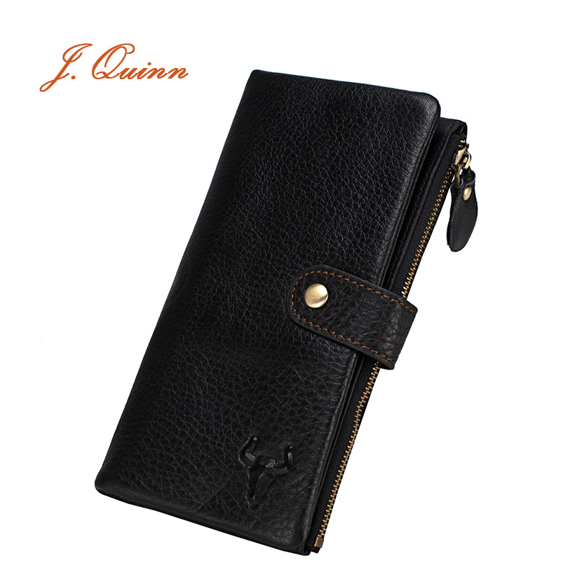J.Quinn Genuine Leather Wallet Men Credit Card Money Long Wallets Zipper Purse Hasp Soft Mens Phone Coin Pocket Fashion European(China (Mainland))