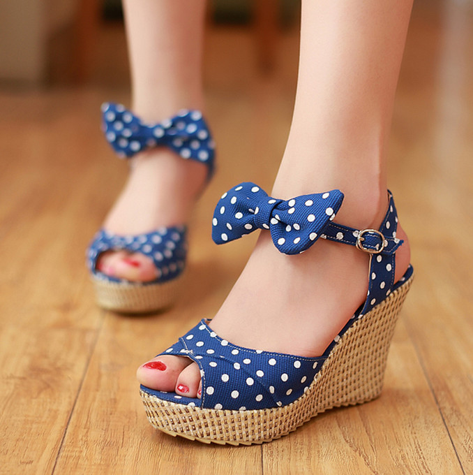 ENMAYER Sweet Polka Dot shoes women  New High Heels  Platform Summer Shoes Gladiator Ankle Straps Women Sandals Wedges Bohemia<br><br>Aliexpress