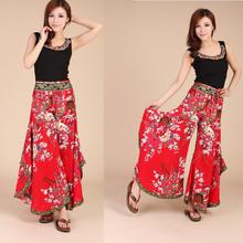 Fluid culottes female summer print linen wide leg pants trousers trend women's national bohemia culottes pants(China (Mainland))