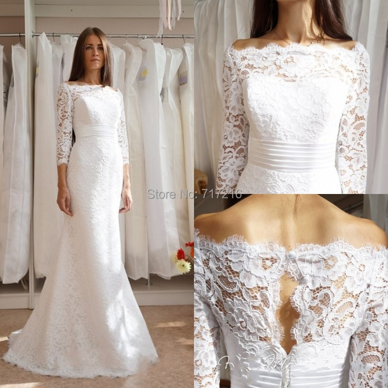Hot sale lace wedding dresses sexy boat neck long lace for Boat neck lace wedding dress