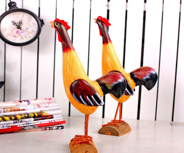 Home Decoration Painted wood carving sets of two rooster JP-32031