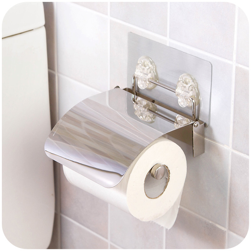 1 Pcs Bathroom Stainless Toilet Towel Roll Paper Tissue Holder Box Case With Cover Lid