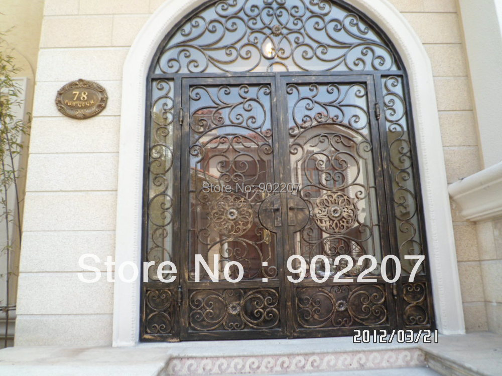 Custom design iron entry door glass iron enry door wrought for Door design of iron