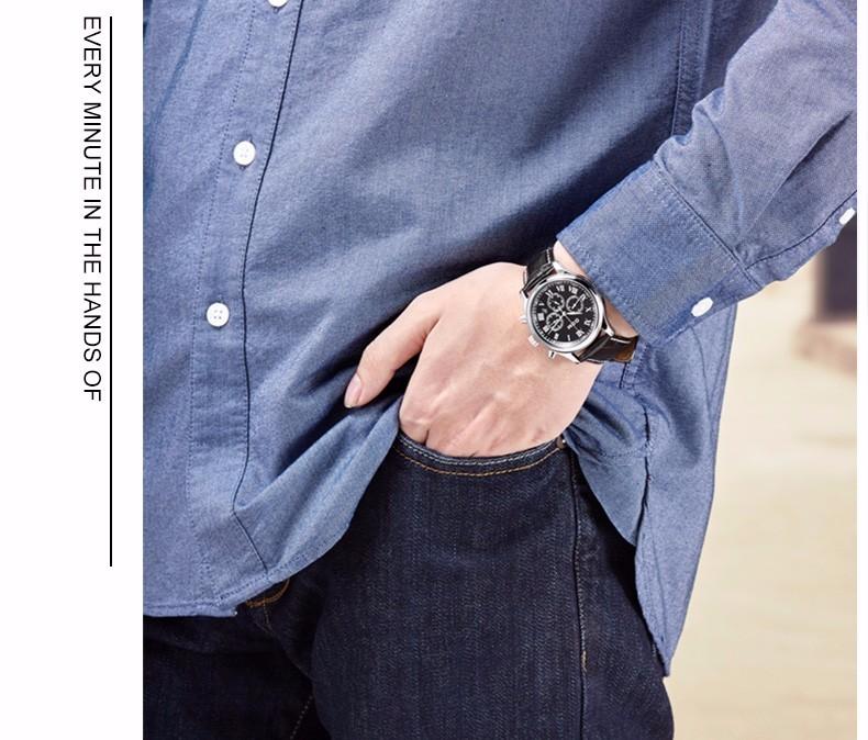 DOM 2016 Мужчины Бизнес Полностью Автоматические Механические Водонепроницаемые Часы Из Нержавеющей Стали Кожаный Ремень Стальной Ленты Day-Date