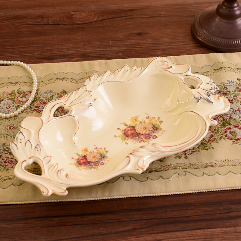 European high grade ceramic fruit plate decoration large for Room decoration gifts