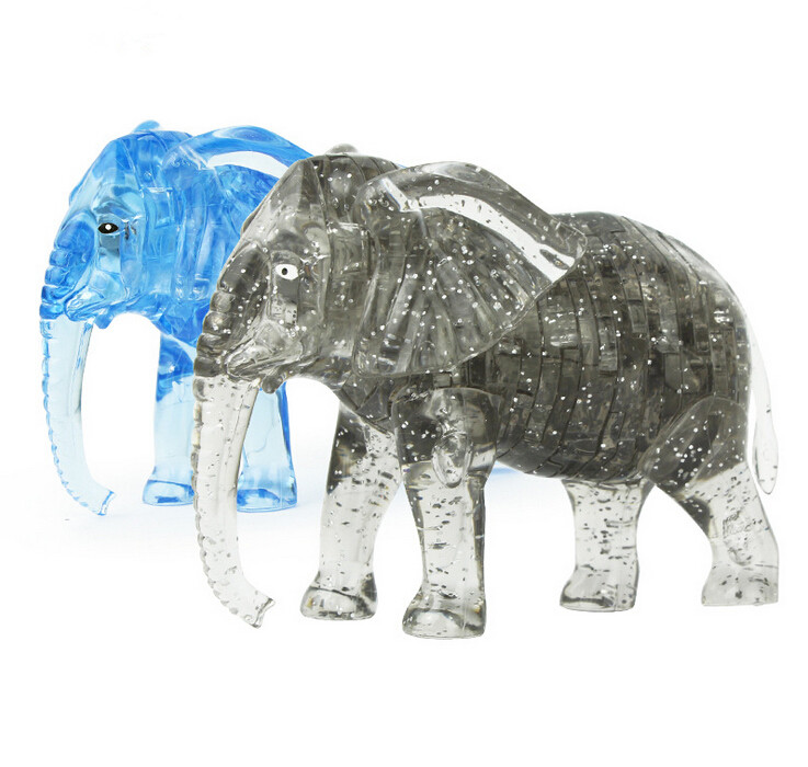 New Arrival 3D Elephant Crystal Puzzle Animal Assembled Model DIY Educational Toys Kid's Gift Home Decoration(China (Mainland))