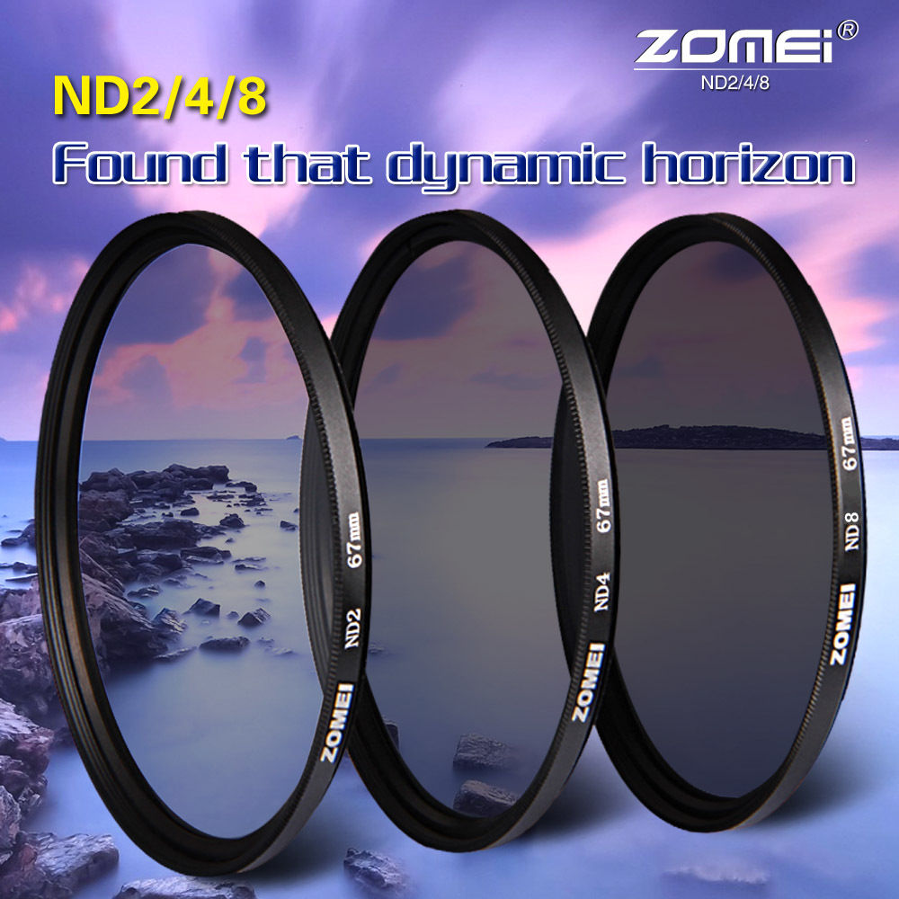 Zomei Neutral Density camera ND filter set kit 52mm 58mm 62mm 67mm 77mm 82mm ND2 ND4 ND8 for Canon Nikon Sony camera lens(China (Mainland))