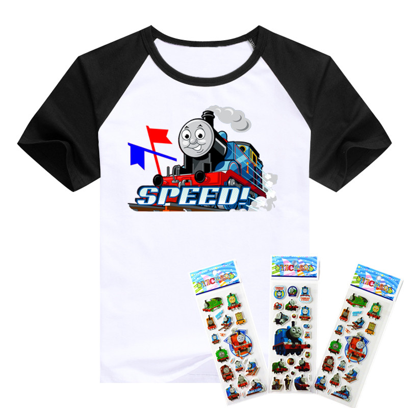 T-shirt the Thomas train and his lovely friends pattern boys clothing Short Sleeve cotton Thomas boys clothes children t shirts(China (Mainland))