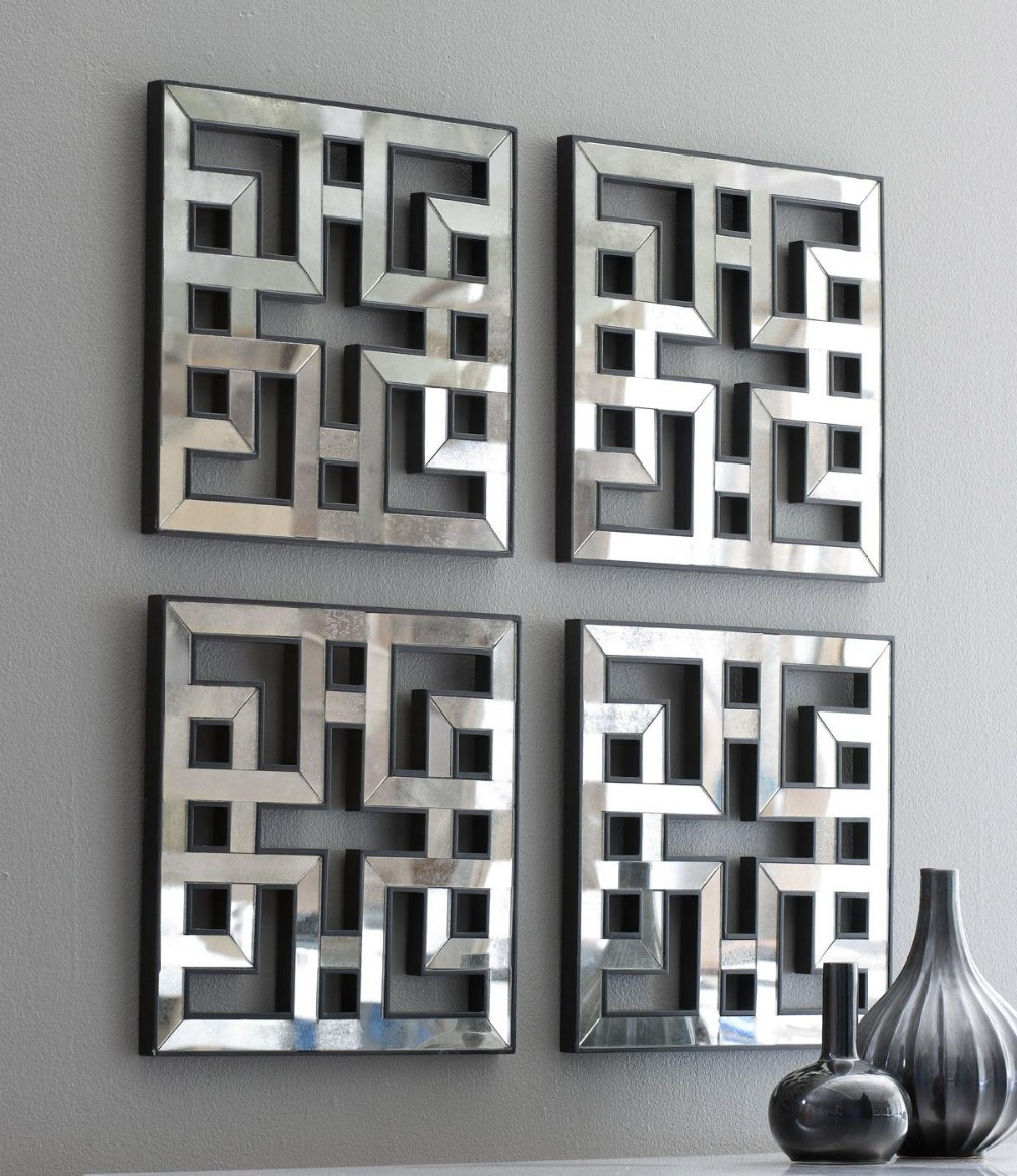 Wall Art In Mirror Frame : Mirrored wall decor fretwork square mirror framed art