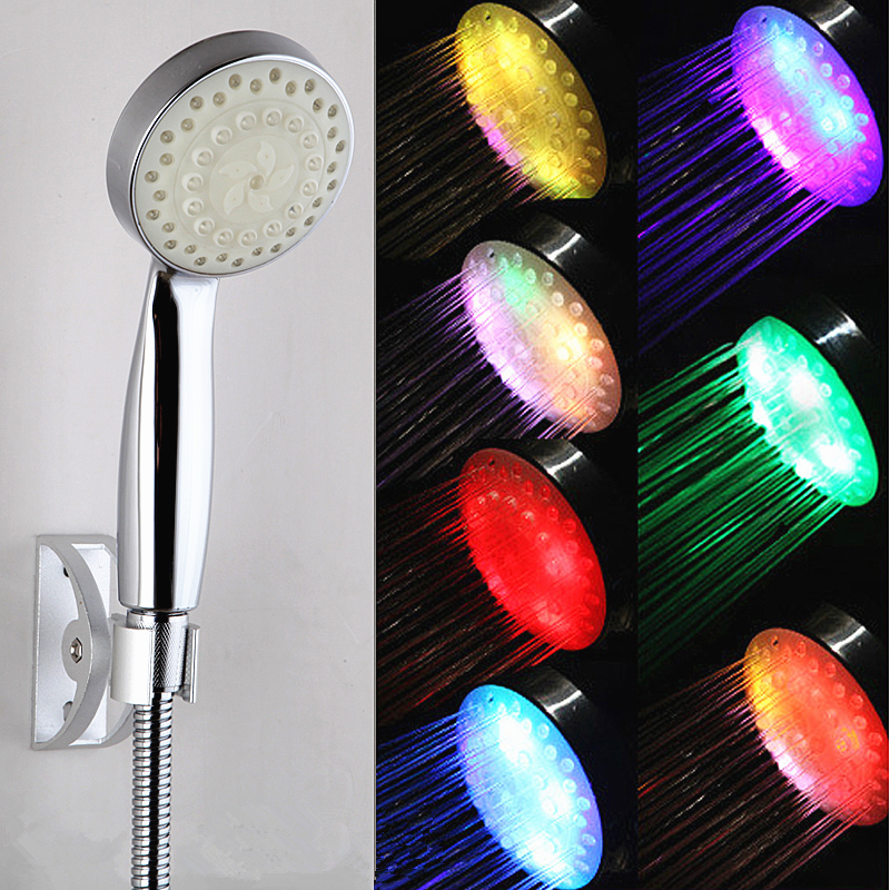 Free shipping color change rainbow led shower handle shower with high quality low price newestdesign(China (Mainland))