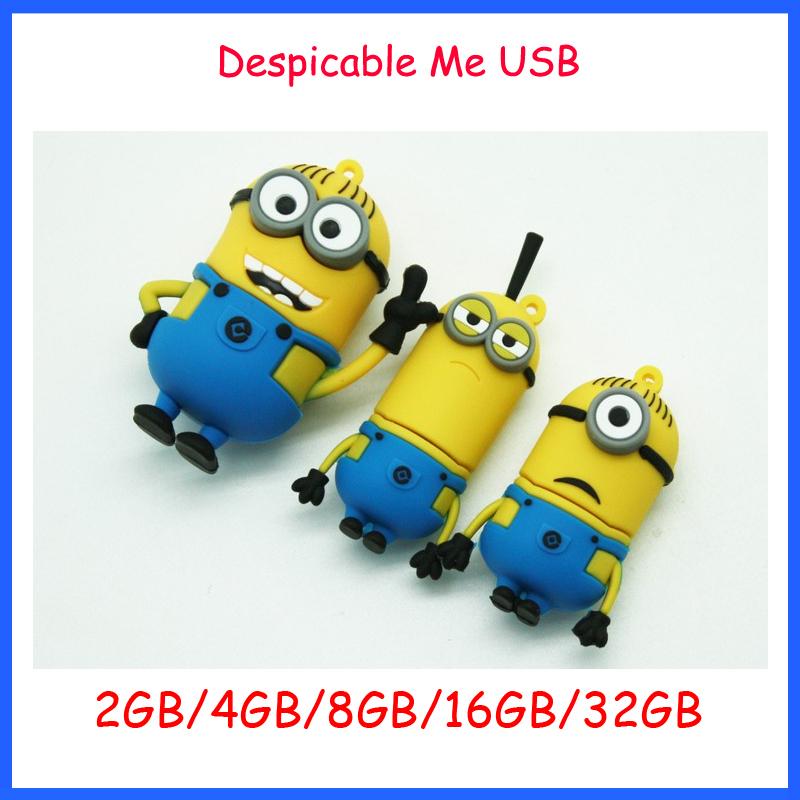 Free Shipping ! Cartoon Minions USB Flash Drive Despicable Me USB Memory Stick 2GB 4GB 8GB 16GB 32GB USB Flash Memory(China (Mainland))
