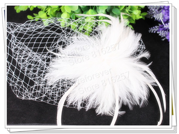 PROMOTION Ladies white  feather flowers  fascinators with veil for wedding hats bridal hair accessories cocktail hats  P03(China (Mainland))