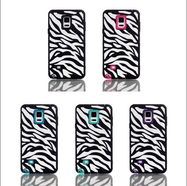 Three-in-one Soft Silicon Phones Zebra Cases For Samsung Galaxy Note4 N9100 Cover Back Case Skin Free Shipping(China (Mainland))