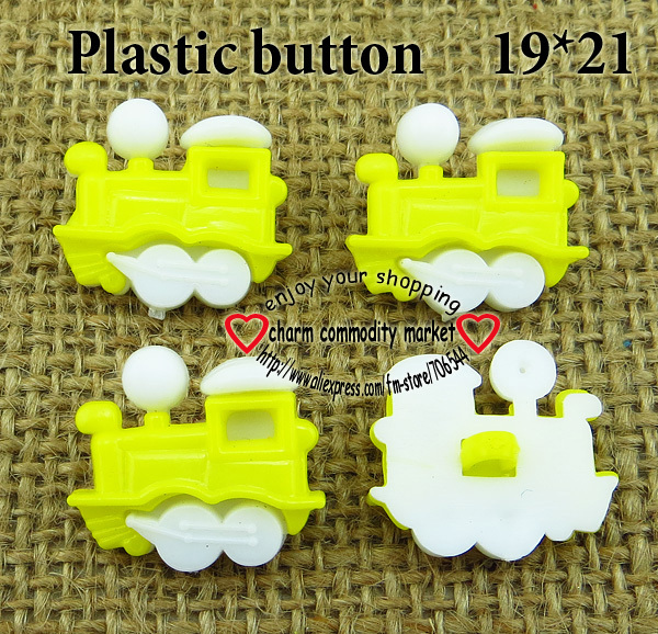 200PCS yellow train TRAIN kids plastic button for sewing buttons clothes accessories crafts P-118-8(China (Mainland))