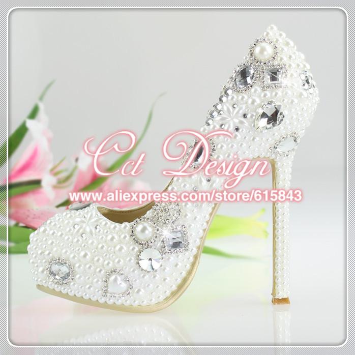 women handmade14cm high heels platform crystal pumps wedding pearl shoes<br><br>Aliexpress