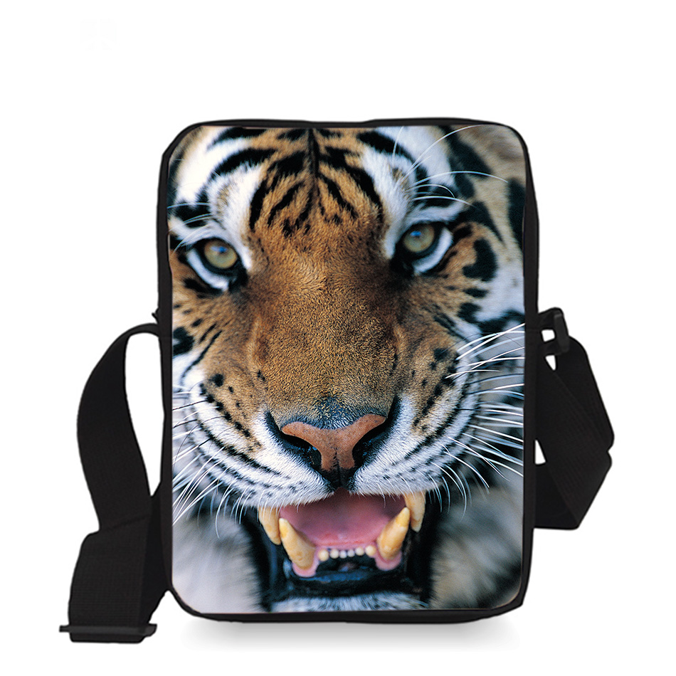 9 inch Cool Kids Messenger Bag Children Small Cross Body Bag Boys Sling Bag Tige Animal Printing for Kindergarten(China (Mainland))