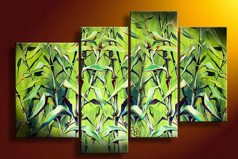 NEW!!4 Panel Large Green Painting Canvas Wall Art Picture XD01883(China (Mainland))