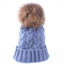 wholesale fox fur pompom hat knitted real mink hat Winter Hat For Women Girls Wool Hat Knitted Cotton Beanies Cap(China (Mainland))