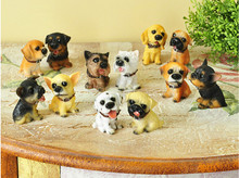 Free shipping 12pcs resin dog figures,pvc toys,cute lovely puppy home car table decorations gifts for kids children girls boys
