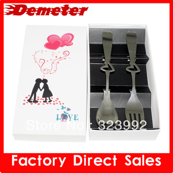 ZK kitchenware stainless steel love couple spoon romantic gift for wedding free shipping dinner set fork cutlery
