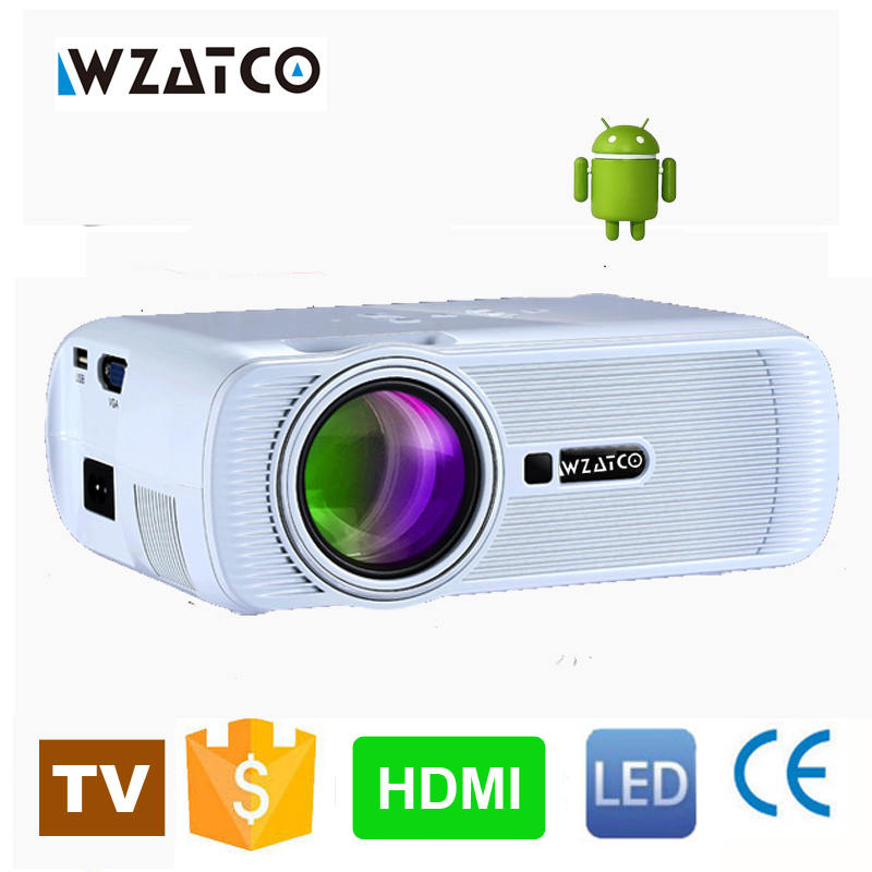 WZATCO 800*480 Portable Mini HD LED TV Projector 1800Lumens 3D Moive Multimedia Home video Projectors Beamer Factory Direct Sale(China (Mainland))
