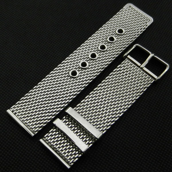 22mm Width Silver Stainless Steel Mesh Watch Strap Pin buckle For Men Women Wrist Watch Replacement + 2 Spring Bars GD011522(China (Mainland))