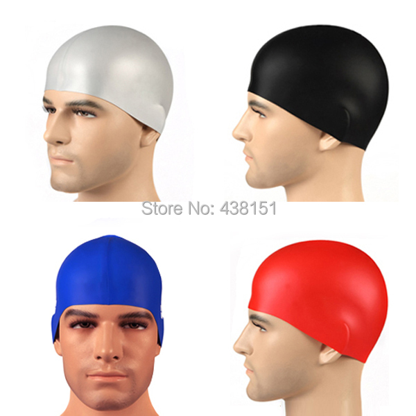 solid color swimming cap silicone hats water-proof 100% brand new Adult 5 colors(China (Mainland))