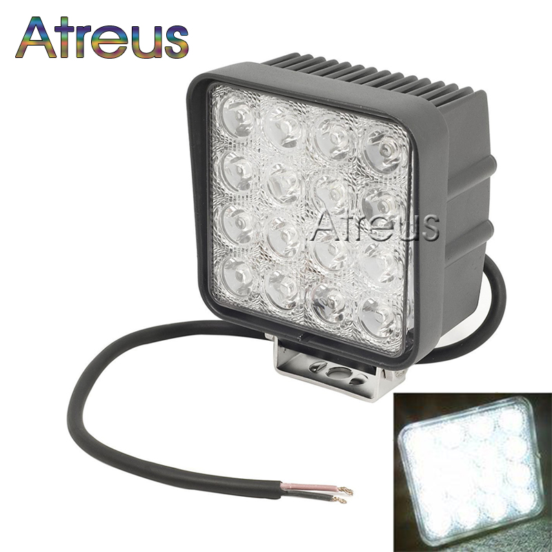 4.5 Inch 48W High-Power 16X 3W Square LED Work Light 12V Waterproof For 4x4 Offroad Truck Tractor Motorcycle Driving Fog Lights(China (Mainland))
