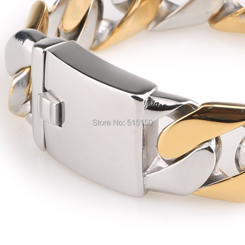 CUSTOMIZE SIZE 316L Stainless Steel 24.5mm Wide Heavy Curb Chain Bracelet Silver Gold Mens bracelet Top Quality(China (Mainland))