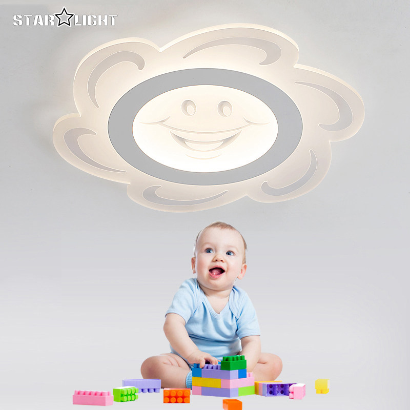 Modern LED ceiling light Children Round smile sun Transparent lamp wireless remote control LED child room decor lighting(China (Mainland))