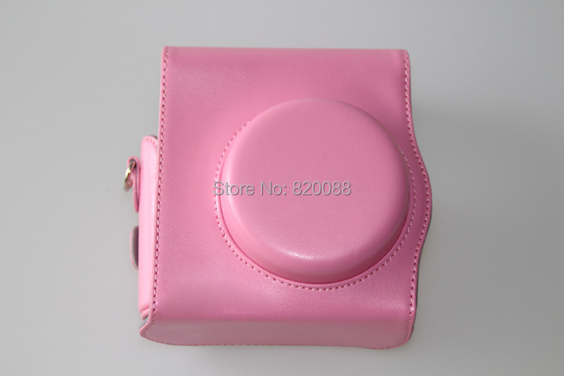 New Fujifilm Instax Mini Camera Leather Case Pink Color with Shoulder Strap, free shipping(China (Mainland))